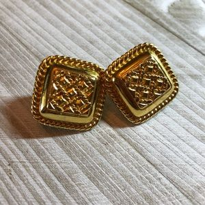 Monet gold tone clip on earrings